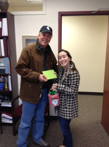 I am the first recipient of the Dan R. Ison scholarship. I was able to meet with him today and give him and his family some Christmas goodies!